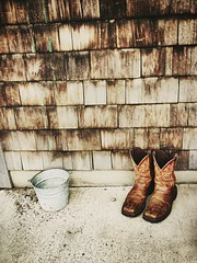 left his boots (meara!) Tags: wood old newyork leather bucket cowboy boots farm indian upstate textures farms summertime ladder