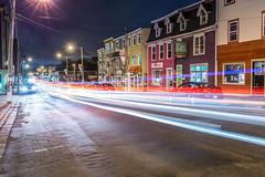 Duckworth Street night lights, St. John's, Newfoundland (tuanland) Tags: road lighting street city longexposure summer canada building architecture night newfoundland evening twilight nikon downtown cityscape cloudy stjohns nfld nightfall atlanticcanada lighttrail d600 newfoundlandandlabrador downtownstjohns nikond600