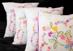Cushions (Made by Rachel) Tags: sew tablecloth cushion embroidered