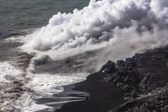 Newest Black Sand Beach in the World (mutrock) Tags: ocean sea usa beach kalapana hawaii lava steam pacificocean hi bigisland puna blacksandbeach lavaflow unitedstates2007
