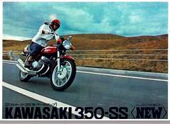 Kawasaki 350 S2 motorcycle brochure (Rickster G) Tags: two classic vintage ads flyer stroke literature 400 70s kh 500 h1 h2 sales brochure triple spec 250 kawasaki s2 dealer 750 stroker twinshock vjm