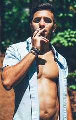 (Steven Sites) Tags: gay boy portrait man hot cute sexy guy shirt canon eos 50mm eyes mark f14 cigarette smoke twink ii lgbt button 5d abs unbuttoned