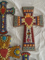 Mosaic Cross Assortment (dumblady mosaics) Tags: art broken glass colors lady mirror colorful catholic cross heart mosaic dumb jesus mosaics crosses style christine christian mexican tiles sacred plates morris dishes etsy custom gems assortment pique assiette southwestern dinnerware tesserae picassiette dumblady