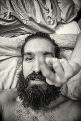 Day 248 (Michael Rozycki) Tags: portrait white black sign self canon project hair beard personal finger moustache have reality 5d middle gesture glimpse 2470