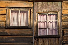 Pink Ginham Curtains (loobyloo55) Tags: wood pink windows texture window sydney australia therocks