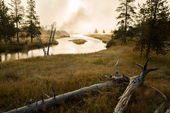 Upper geyser basin at sunrise (zikrostag) Tags: sunrise river oldfaithful steam yellowstone geyser