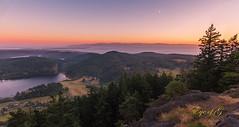 Sunset Moon over Puget Sound.jpg (Eye of G Photography) Tags: trees sunset usa moon landscape island islands places sound northamerica pugetsound washingtonstate puget whidbey sunsetsunrise mterie
