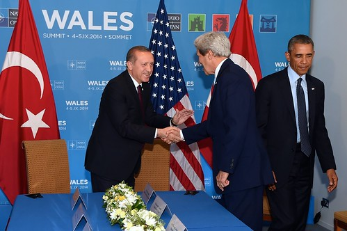 Secretary Kerry Shakes Hands With Turkish President Erdogan Before Meeting With President Obama