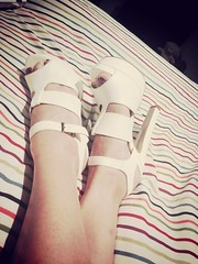 Bring on Summer (Damana) Tags: white feet leather high shoes legs sandals platform heels straps strappy