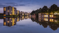 Reitdiep at night (koos.dewit) Tags: longexposure sunset holland architecture canon reflections zonsondergang cityscape nightshot thenetherlands le lee bluehour groningen architectuur reitdiep 2014 spiegelingen 1740mml nachtopname leefilters canon6d blauweuurtje koosdewit
