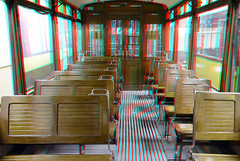 wagon Tram Museum Rotterdam 3D (wim hoppenbrouwers) Tags: tram museum rotterdam 3d trammuseum anaglyph stereo redcyan wagon