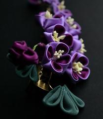 purple lilac 05 (Bright Wish Kanzashi) Tags: flower handmade silk lilac clasic tsumami kanzashi hairornament lilachairwreath