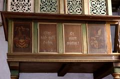 Ganderkesee, Niedersachsen, St. Cyprian-und-Corneliuskirche, manorial pew of the Elmeloh family, detail (groenling) Tags: wood germany painting de deutschland coatofarms paint carving pew holz woodcarving ajour wappen witzleben malerei niedersachsen 1711 ganderkesee delmenhorst gesthl openwork prieche elmeloh stcyprianundcorneliuskirche