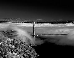 Atmospheric (Scott Holcomb) Tags: foggycitybythebay goldengatebridge asahipentax6x7 supertakumar6x7124105lens hoyar7267mmfilter rolleiretro400sfilm blackwhite 6x7 120film mediumformat epsonperfectionv600 photoshopdigitalization