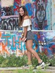 Sweet (Ron Scubadiver's Wild Life) Tags: girl woman candid street style nikon 24120 austin texas denim shorts castle hill graffiti park