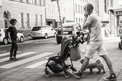 multitasking (Gerard Koopen) Tags: zweden sweden stockholm city straatfotografie streetphotography straat street candid people dog walking calling phone multitasken multitasking fujifilm fuji xpro1 35mm 2016 gerardkoopen