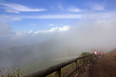 (ngiambr1) Tags: clouds mountain hike volcano lava sand rock gravel path rail fence wood people tourists sky blue green vesuvius pompeii italy naples italia cloudy foggy