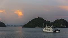 Cruising at sunset (tmeallen) Tags: cruising halongbay water reflections sunset cruiseship islands travel limestonekarst paradiseluxury northvietnam