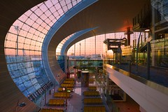 Dubai - Airport at Sunrise (cnmark) Tags: dubai uae united arabic emirates airport terminal3a terminal3 concoursea gates gate interior architecture modern curved window windows allrightsreserved