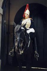 Whitehall Horseguard (Snap Man) Tags: 2001 cityofwestminster england europe horseguards london nikonn65 byrobin