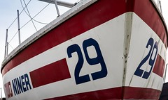 Yacht Two Niner (Dave Denby) Tags: 29 boat bow hull nine niner number old painted racing red stripes two yacht