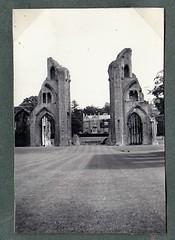 Glastonbury Abbey 1955 (Bury Gardener) Tags: bw blackandwhite oldies 1950s snaps england uk glastonburyabbey 1955 abbey
