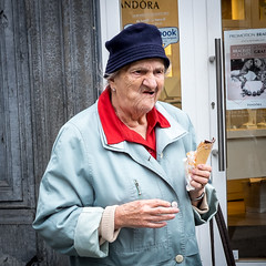 Ice Cream Lady. (James- Burke) Tags: belgium candid characters comedy eatingicecream humour lady liege street streetincolour people