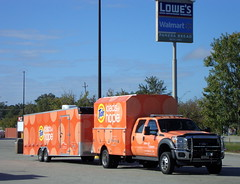 Tide Loads Of Hope. (dccradio) Tags: lumberton nc northcarolina robesoncounty sign lowes walmart panerabread parkinglot pole lightpole lightpost lamppost tree trees greenery pavement shadow ford truck tide loadsofhope trailer rig sky bluesky hurricane matthew survival aftermath recovery