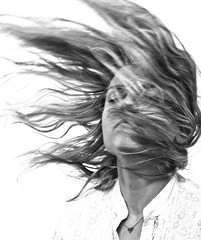 Dust and the wind (Dominika Ruciska) Tags: portrait womenportrait womanportrait monochrome monochromeportraits blackandwhite blackandwhiteportraits greyscale movement dynamicportrait highkey studio studioportrait