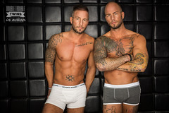 Twins in underwear (.:dewfah::photo:.) Tags: red tatto tattoed inked muscle fitness twins identical fit brothers underwear hot body abs 6pack sic six sixpack train training ring ringflash ringlight catchlight motivation eyes apparel boys arms action photoshoot studio tutorial ab