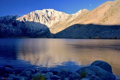 [Sunrise, Moonset] (miltonsun) Tags: sunrise moonset convictlake easternsierra california highway395 morning landscape mountains clouds sky meadows autumn rocks lake reflection outdoor natural
