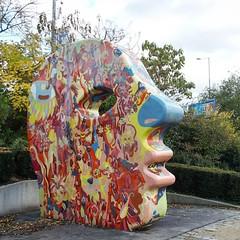Big head.  •••  #plzeň #czechrepublic #ig_czech #streetart #sculpture #playground #autumnwalk #afternoonwalk