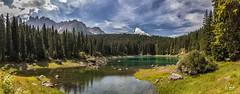 Lago Carezza (Simone Vanelli) Tags: montagna vacanza val fassa mountain dolomiten trentino italia italy alpi alpes sky cielo clouds nuvole lago lake alpino
