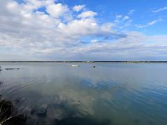 IMG_0126x (gzammarchi) Tags: italia paesaggio natura ravenna marinaromea piallassabaiona piallassa lago barca nuvola riflesso monocrome