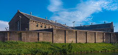 Former Prison, Wolvenplein 27, Utrecht (natures-pencil) Tags: prison architecture brickwork skylight cctv cameras wall bluesky utrecht nederland netherlands lossofliberty correctionalfacility detention