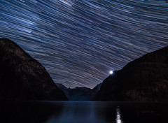 Moonset and after that (ichbins_de) Tags: königsse konigssee bavaria bayern berchtesgaden berchtesgadener land moonset moon startrails star trails stars astro orion landscape nightscape germany deutschland kings lake mountains mountain berge berg gebirge