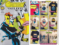 THE TICK CHAINSAW VIGILANTE HOLOGRAPHIC VARIANT NO. 1 (vsndesigns) Tags: the tick pencil indie shocker gbjr toys with tie and tshirt zombie in a steel box fox promotional totally kids magazine 45 club spoon taco bell meal commercial eli stone ben edlund little wooden boy comic book merchandise rare limited edition 80s 90s collector museum naked super hero heroine funny comedy tv color thetick indoor surreal cartoon coffee mug ceramic cup black blue text poster illustration collection sketch cover white necpress