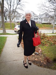 Only One Thing Missing . . . (Laurette Victoria) Tags: suit gloves silver purse sidewalk woman laurette milwaukee