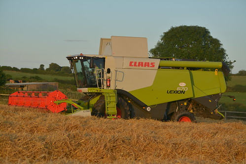 Claas Lexion 670 Combine Harvester cutting Winter Barley