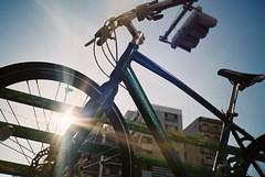 Flat (Yosh the Fishhead) Tags: konica konicac35 konicac35flashmatic konicac35automatic c35flashmatic c35automatic film films fujifilmgyomuyo100 fujifilm tokyo japan bike bicycle flare lensflare wheel