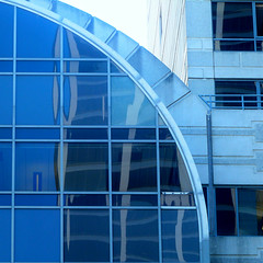 reflections on blue (msdonnalee) Tags: facade facciate fachada blue blau blu azul reflection architecture architecturaldetail glass curve window