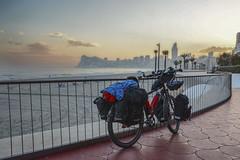 Cycling in Benidorm (TheCrazyTravel.com) Tags: city light sunset sea espaa sun color beach valencia bicycle clouds cycling coast spain sand mediterranean pedestrian shape touring benidorm biketouring comunidadvalenciana