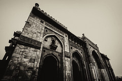 Qila-i-Kuhna Mosque (_Amritash_) Tags: india monochrome architecture delhi arches mosque ornate newdelhi prayerhall jharokas mihrabs qilaikuhnamosque premughalarchitecture qilaikuhna calligraphicinscriptions insidepuranaqila
