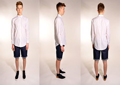(dizzydani) Tags: white male fashion shirt model long triptych jean jeans shorts sleeve seams