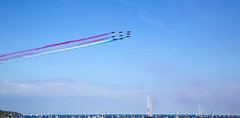 Red Arrows Final Pass (Dixie Deane) Tags: team cornwall display falmouth redarrows raf aerobatic gyllyngvasebeach canonef24105mmf4lisusm canoneos5dmarkiii