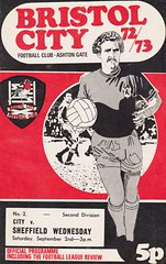 Bristol City vs Sheffield Wednesday - 1972 - Cover Page (The Sky Strikers) Tags: city wednesday bristol town gate sheffield manly cartoon visitors ashton tache