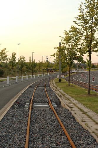 Baustelle der Linie 109 in Essen (Juli 2014)