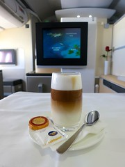 Lufthansa (LAXFlyer) Tags: travel food coffee dinner lunch flying flight first class meal airbus lh traveling latte lufthansa firstclass a330 airbus330 travelinginstyle lufthansafirstclass