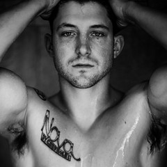 (Steven Sites) Tags: boy portrait bw white man black hot sexy guy wet water monochrome sex tattoo canon square shower eos 50mm eyes arms muscle mark ii 5d grayscale mustache biceps scruff f15
