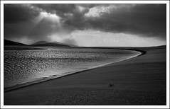 A break in the storm (mistymornings99) Tags: sky storm beach water weather landscape coast scotland sand unitedkingdom lightbeams outerhebrides luskentyre isleofharris crepsucular photostyles
